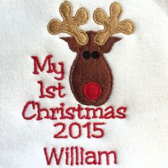 Personalised Babies Bib - Reindeer My First Christmas